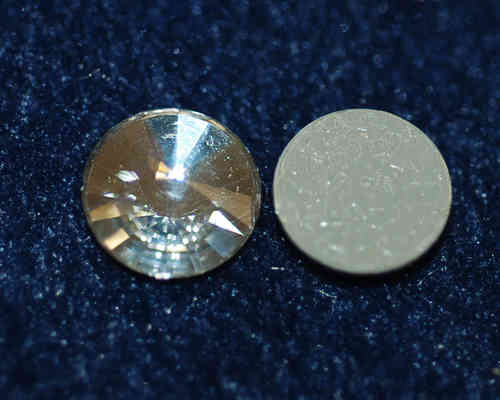 Cabochon Crystal Glas-Cabochon 14 mm Silver Foiled