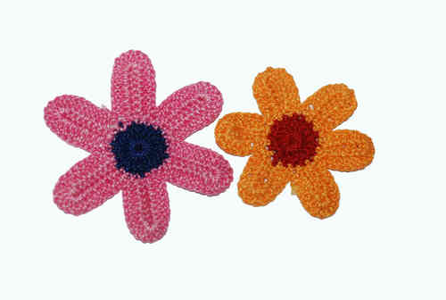 Wollblumen Häkelblüten 50 mm orange-rosa 2er Set 1x *H005