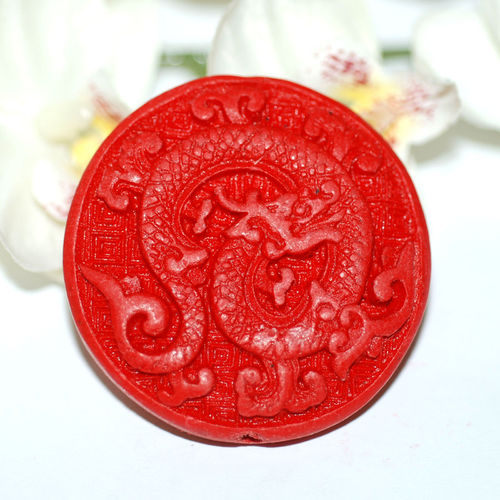 China Lackperle Chinalack Perle Drache 44 x 11 mm rot 1x
