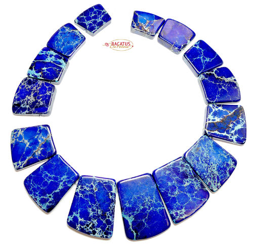 Impression Jaspis Collier Royal Blau 18x20 - 25x40 mm, 1 Strang