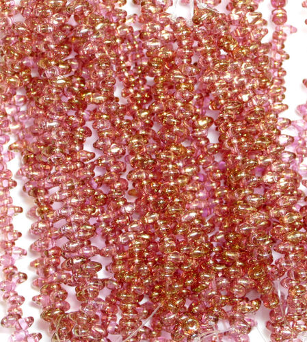 SuperDuo Beads Perlen Twin 2,5x5 mm ( 09 ) Crystal Red Luster 50 Stück, 1 Strang