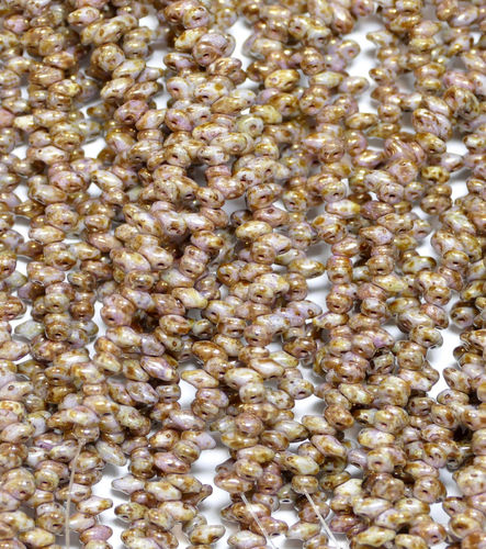 SuperDuo Beads Perlen Twin 2,5x5 mm ( 19 ) Chalk Senegal Brown-Purple 50 Stück, 1 Strang