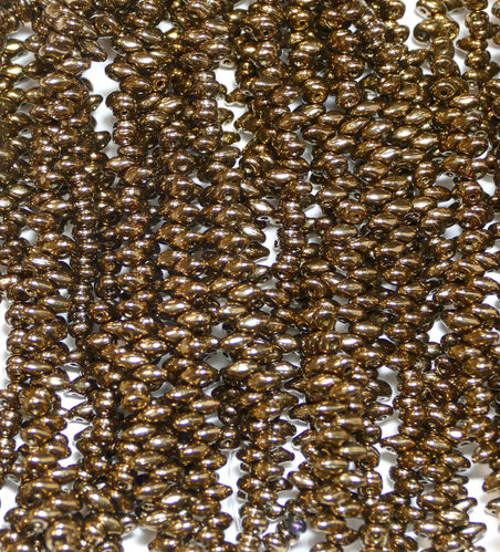 SuperDuo Beads Perlen Twin 2,5x5 mm ( 44 ) Jet Gold Bronze 50 Stück, 1 Strang