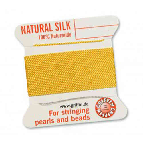 (0,70 € / m) Perl silk nature on card light yellow á 2 m in different thicknesses