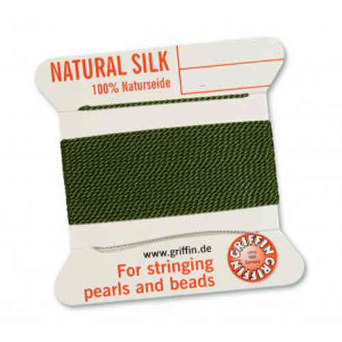 (0,70 € / m) Perl silk nature on card olive á 2 m in different thicknesses