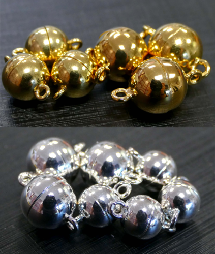 Magnetic Bead Clasps 925 silver or gold plated, different sizes and quantities