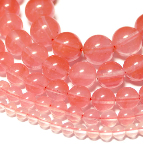 Cherry Quartz plain rounds 2 - 14 mm, 1 Strand