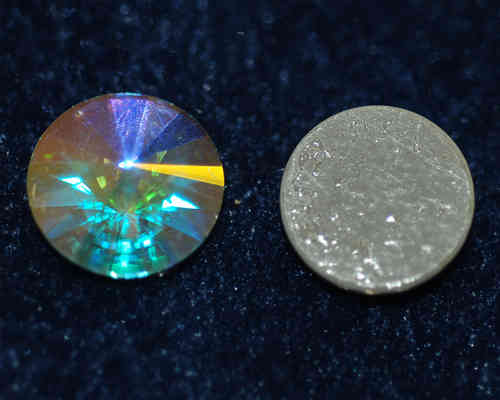 Cabochon Crystal Glas-Cabochon 14 mm AB Iron-On New Glue
