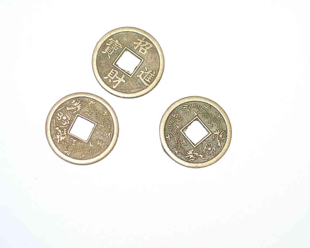 I Ging Orakel Münzen Auch Als Anhänger Messingfarben 23mm 3x