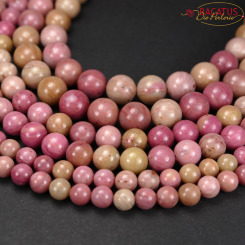 Rhodonite plain rounds 2 - 12 mm, 1 strand