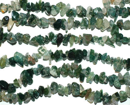 Moss agate plain rounds 5 x 8 mm, 1 Strand
