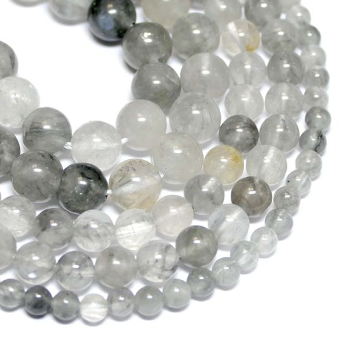 Cloud Quarz Plain Rounds Shiny 6 - 12 mm, 1 Strand