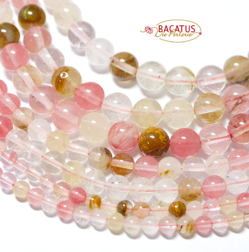 Cherry Quartz Mix plain Rounds shiny 6 - 16 mm, 1 Strand