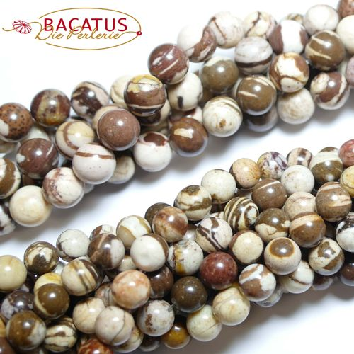Zebra-Jasper plain rounds 4 - 12 mm, 1 strand