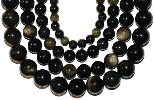 GoldenObsidian plain rounds 4 - 16 mm, 1 Strand