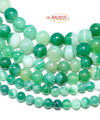 Agate round beads green and white, 4 - 12 mm, 1 Strand