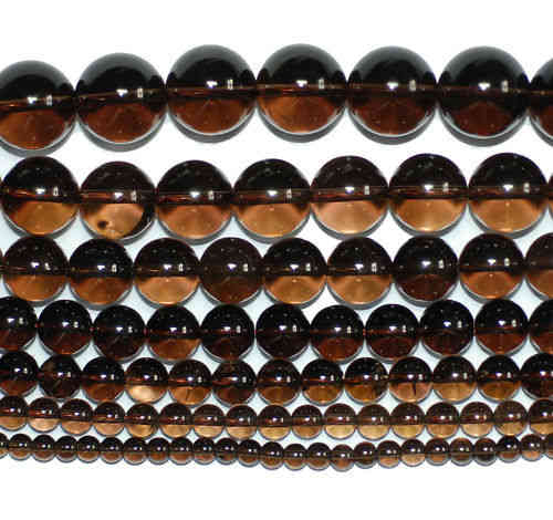Smokey Quarz Plain Rounds 2 - 16 mm, 1 Strand