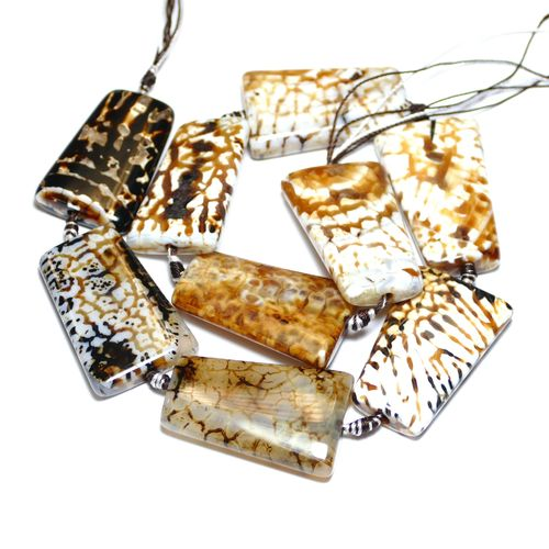 Leopard Agate dyed 25 x 35 mm, 1 Strang