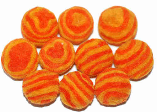 Filz Kugel Perle 26 mm Zebralook XL orange Set á 10x F020