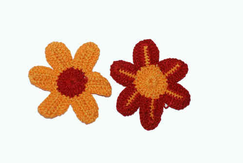 Wollblumen Häkelblüten 50 mm rot-orange 2er Set 1x *H004