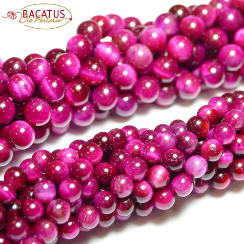 Dyed Pink Tyger Eye Rounds 6 - 14 mm, 1 Strand