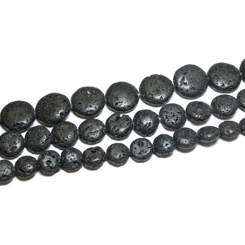 Lava Rock Coins 10 - 16 mm, 1 Strand