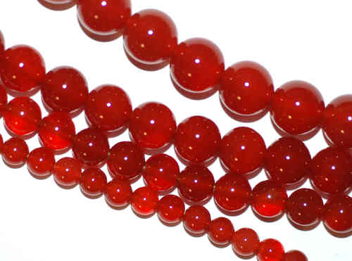 Agate round beads red and orange 4 - 16 mm, 1 Strand