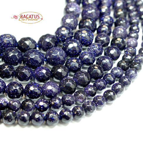 Blue Goldstone Facetted Rounds 4 - 12 mm, 1 Strand
