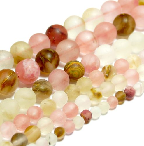 Cherry Quarz *Matt* Mix Pearls, 4 - 10 mm, 1 Strand