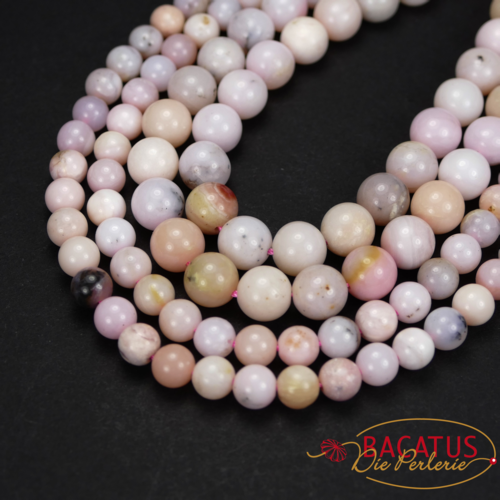Opal plain rounds tender rosa 4 - 8 mm, 1 strand