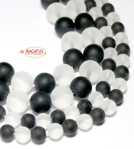 Crystal plain rounds black and white matte 8 and 12 mm, 1 Strand