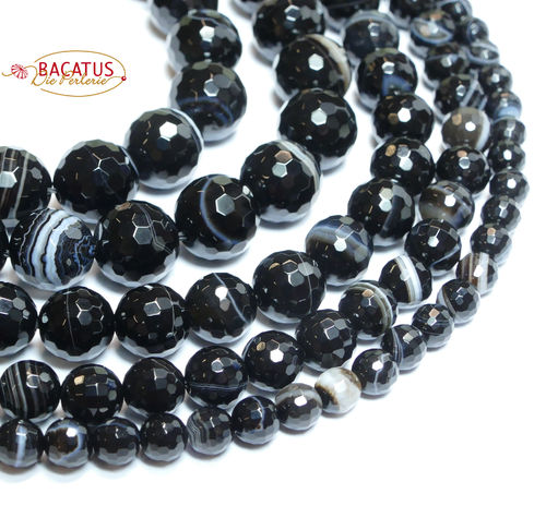Brazil Black faceted Sardonyx Rounds 6 - 12mm, 1 Strand