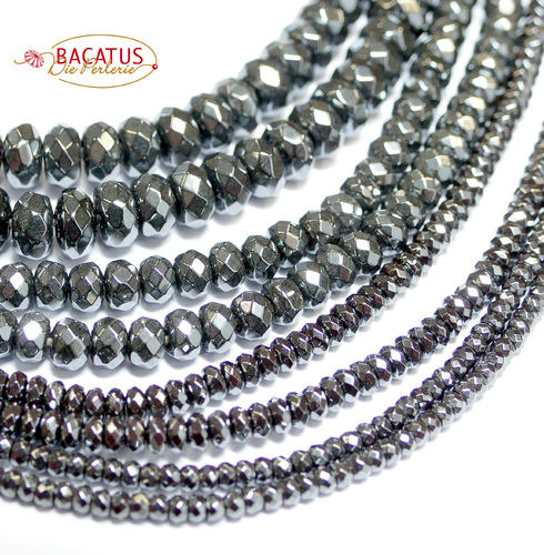 Hematite Faceted Cetral-drilles Rondelles, 1 Strand