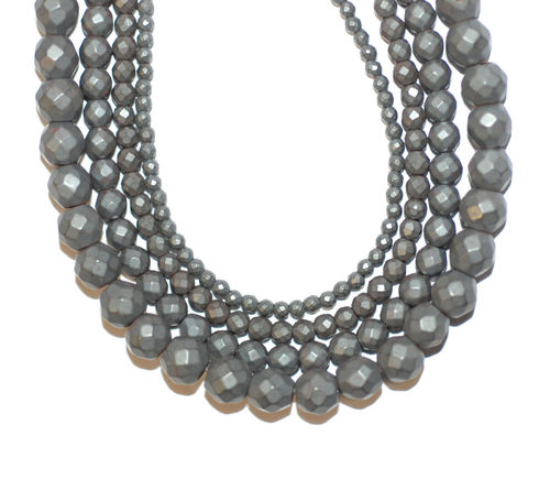 Hematite facetted Rounds matte 2 - 6 mm, 1 Strand