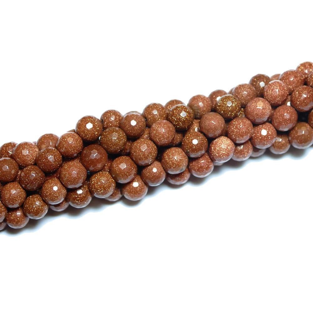 Goldfluss facettiert Perlen Kugel in 4-10 mm braun 1 Strang BACATUS