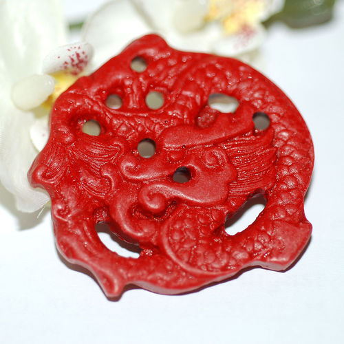 China Lackperle Chinalack Anhänger Drache 46 x 7 mm rot 1x