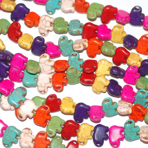 Pearl elephant colorful stained stone bead 11x14x6 mm 1 strand
