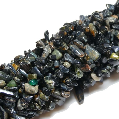 Tiger eye black nuggets 5 x 8 mm, 1 Strand