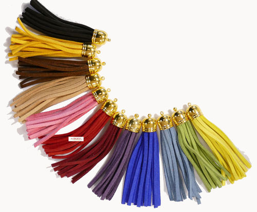 Pendant tassel tassel metal and imitation leather / velor look cap, gold approx. 60 mm 1x
