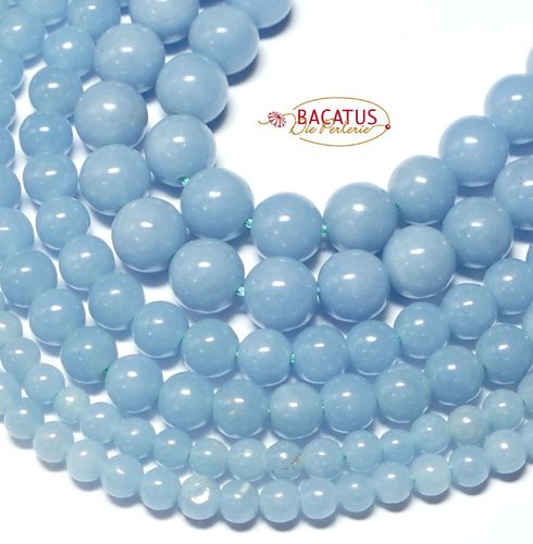 Angelite plain rounds blue 4 - 8 mm, 1 Strand