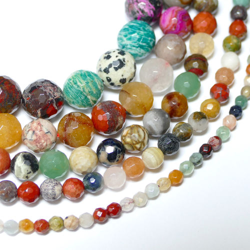 Gemstone Mix plain rounds faceted multicolor 4 - 12 mm, 1 Strand