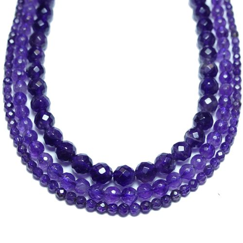Amethyst facetted Rounds 2 - 8 mm, 1 Strand