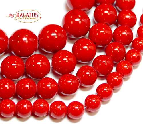 Dyed Red Mashan Jade 4 - 20 mm, 1 Strand