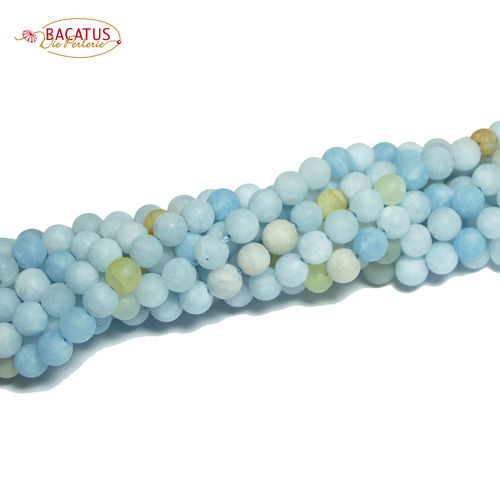 Aquamarine matte plain rounds blue 6 - 8 mm, 1 Strand