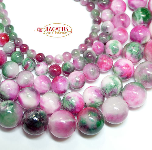 Jade Plain Rounds pink green  4 - 12 mm, 1 Strand