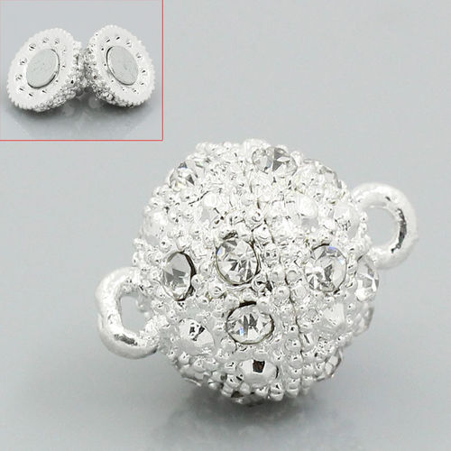 Magnetic clasp silver plated with rhinestones 12mm 1x
