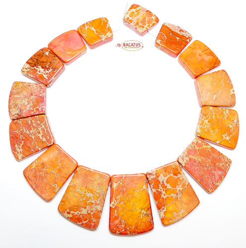 Impression Jaspis Collier Orange 18x20 - 25x40 mm, 1 Strang