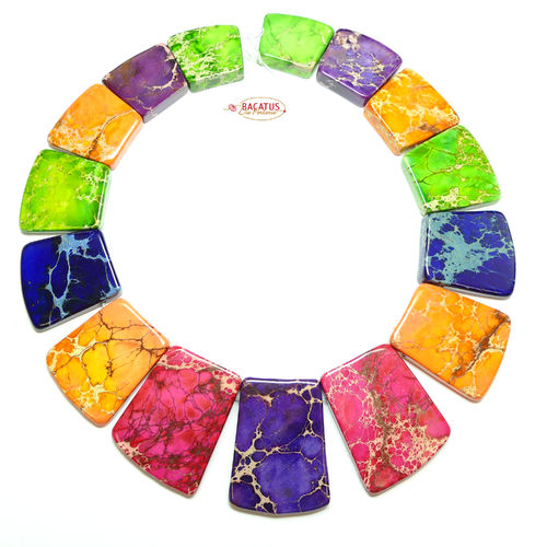 Impression Jaspis Collier bunter Mix 18x20 - 25x40 mm, 1 Strang