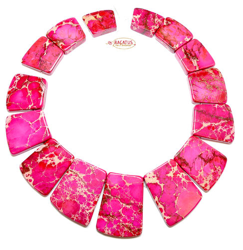 Impression Jaspis Collier pink 18x20 - 25x40 mm, 1 Strang