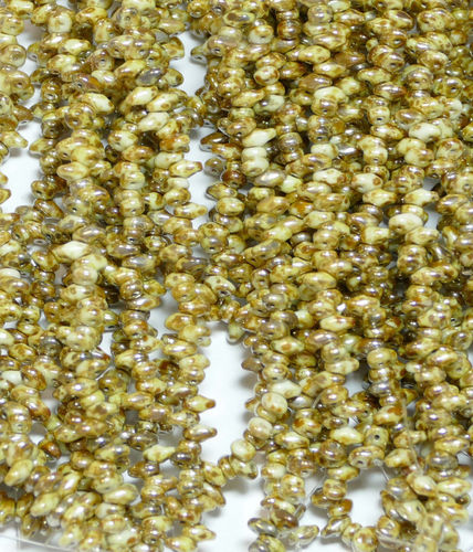SuperDuo Beads Perlen Twin 2,5x5 mm ( 21 ) Chalk Rembrandt 50 Stück, 1 Strang